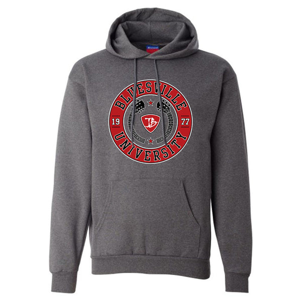 Bluesville University Crest Champion Hooded Sweatshirt (Men) - Charcoal Heather