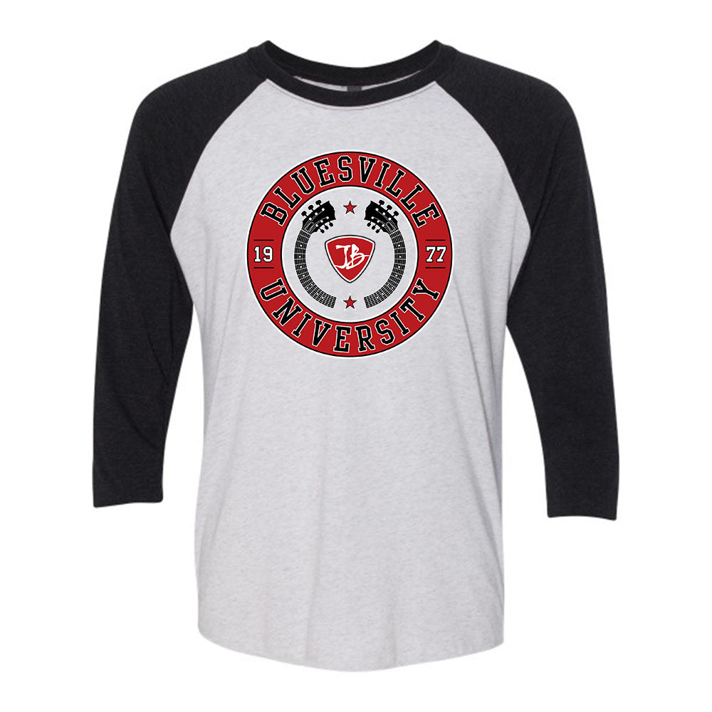 Bluesville University Crest 3/4 Sleeve T-Shirt (Unisex) - Heather White/Black