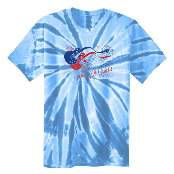 Red, White and Blues Firework Guitars Tie Dye T-Shirt (Unisex) - Light Blue