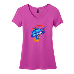 Reel Blues V-Neck T-Shirt (Women) - Pink Raspberry