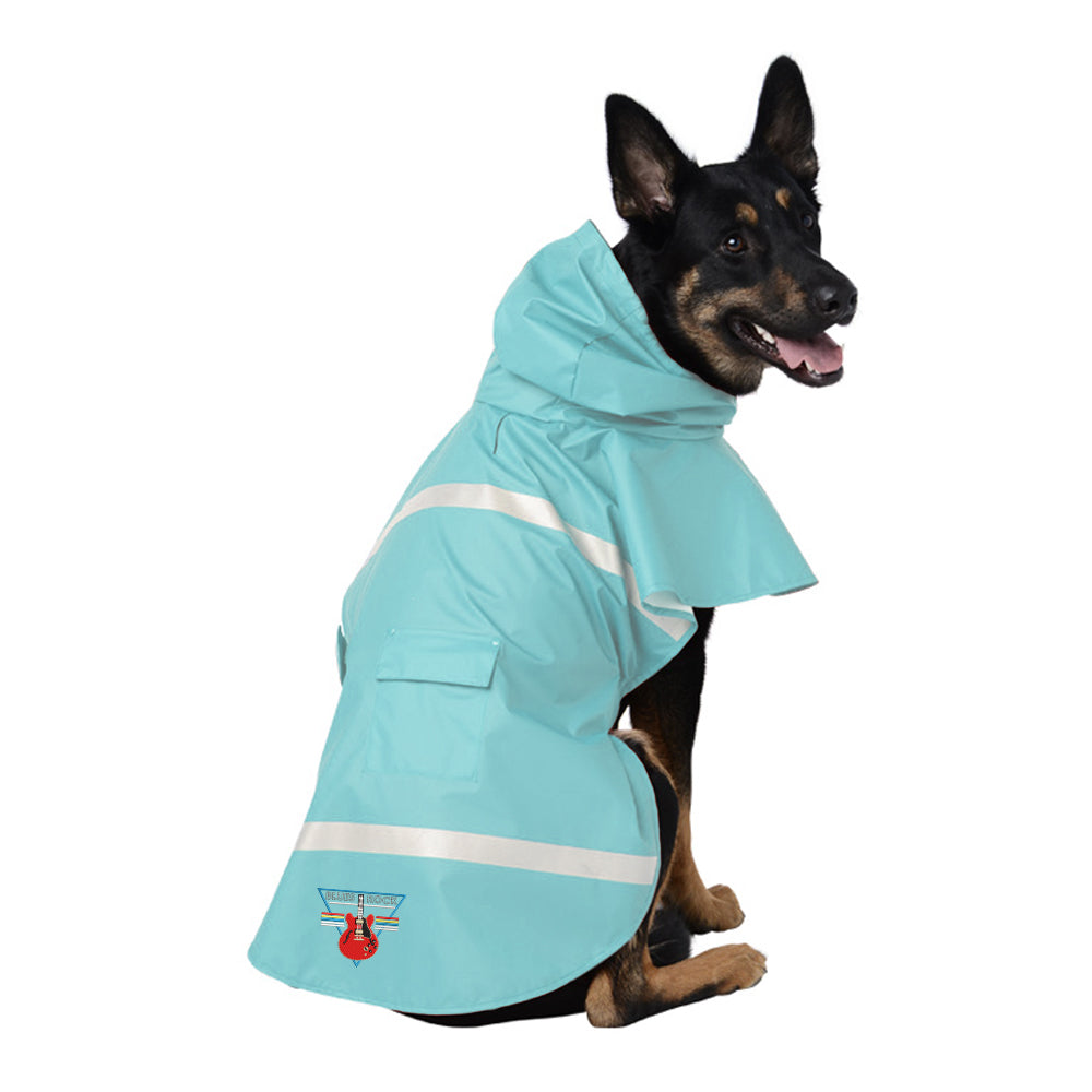 Blues Rock Triangle Doggie Rain Jacket - Aqua