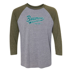 Bonamassa Rowing Team 3/4 Sleeve T-Shirt (Unisex) - Military/ Heather Grey