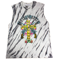 Guns N' Roses Skull Cross Rocker Muscle Shirt - Marble Tie Dye