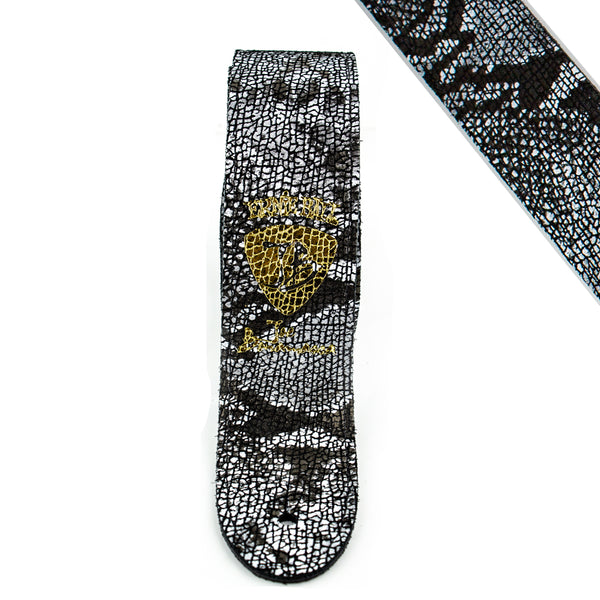 Black & White Snake Leather - Ernie Ball JB Signature Guitar Strap