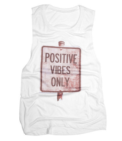 Positive Vibes Scoop Muscle - White (Women)
