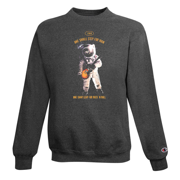One Giant Leap for Rock n Roll  Champion Crewneck Sweatshirt (Unisex) - Charcoal
