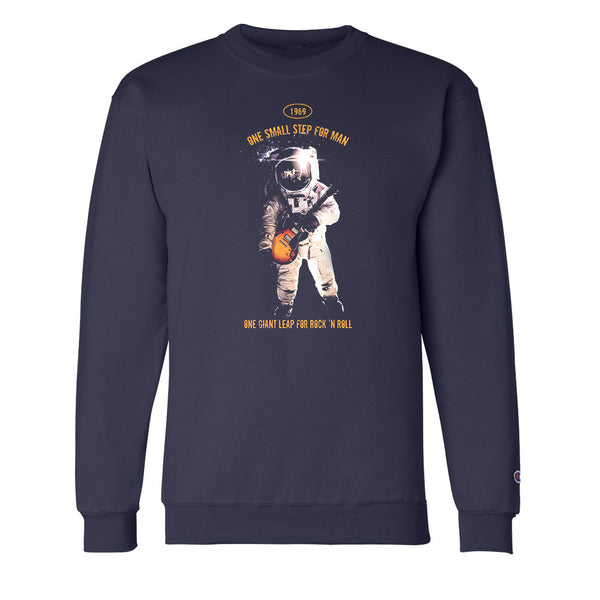 One Giant Leap for Rock n Roll  Champion Crewneck Sweatshirt (Unisex) - Navy
