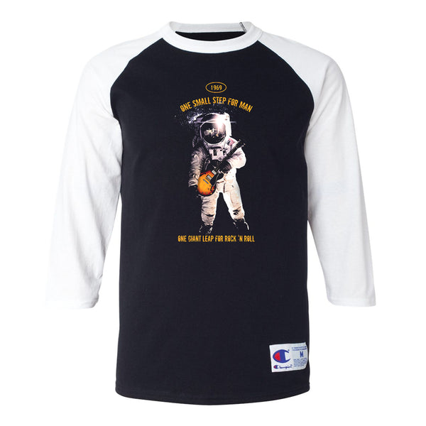 One Giant Leap for Rock n Roll  Champion Baseball T-Shirt (Unisex) - White/Black