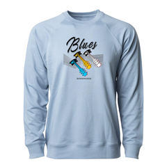 Blues Illusion Lightweight Crew Neck Long Sleeve (Unisex) - Misty Blue