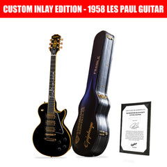 "2020 Ltd Ed Joe Bonamassa Les Paul Custom ""Black Beauty"" Custom Inlay Outfit Epiphone w/Case"