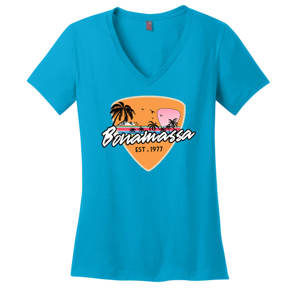 Blues Sunset V-Neck (Women) - Turquoise