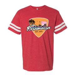 Blues Sunset Football T-Shirt (Men) - Vintage Red