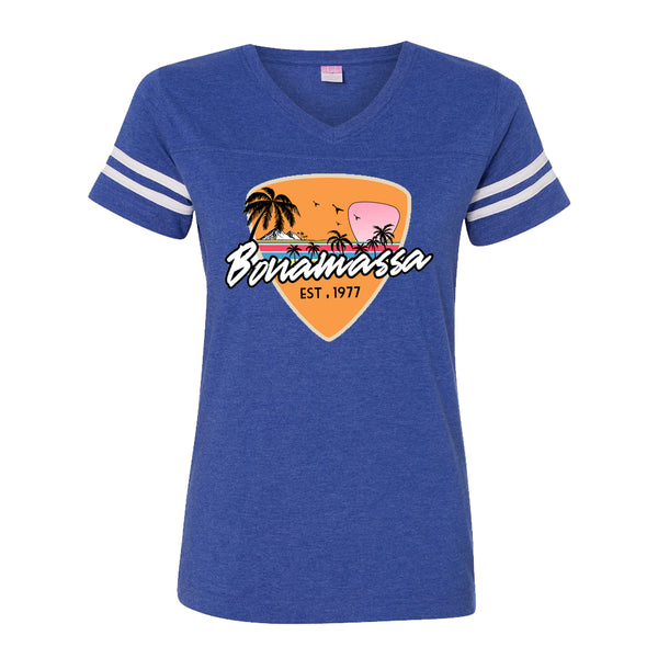 Blues Sunset Football V-Neck (Women) - Vintage Royal