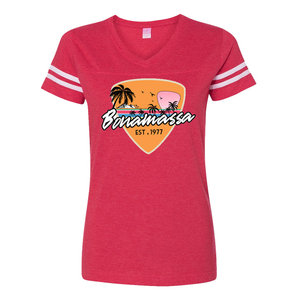 Blues Sunset Football V-Neck (Women) - Vintage Red