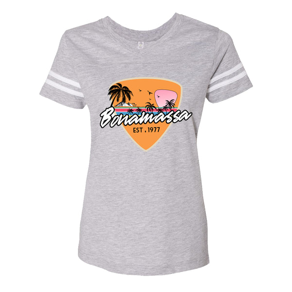 Blues Sunset Football V-Neck (Women) - Vintage Heather