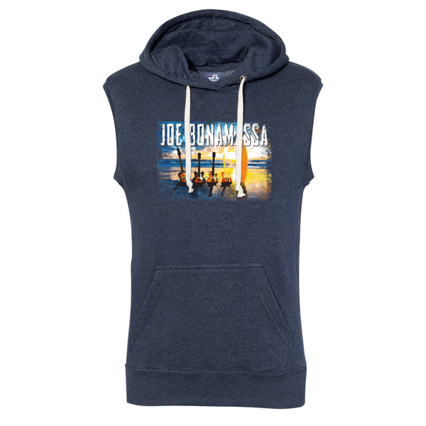 Sunset Blues J. America Sleeveless Hooded Sweatshirt (Men) - Navy Tri-Blend