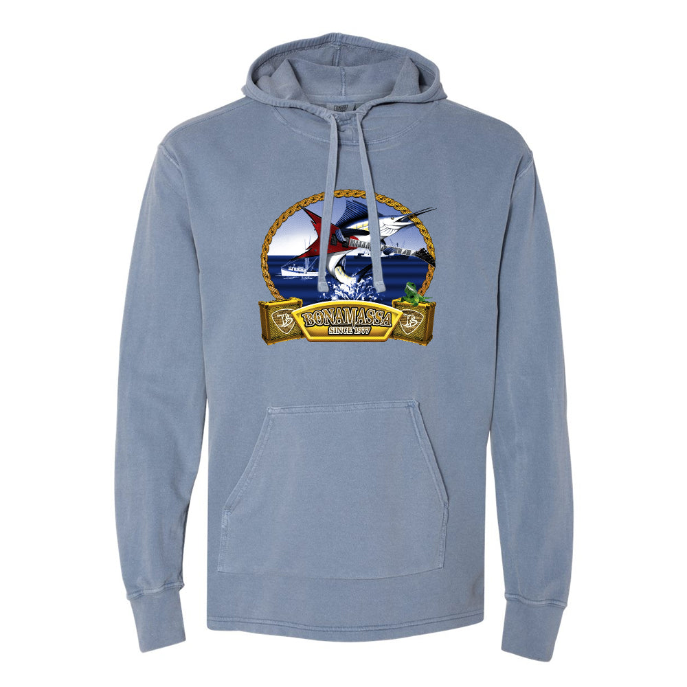 Bonamassa's Flying V Fish Comfort Colors Hooded Pullover (Unisex) - Blue Jean