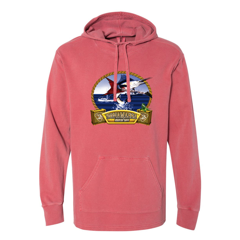 Bonamassa's Flying V Fish Comfort Colors Hooded Pullover (Unisex) - Crimson