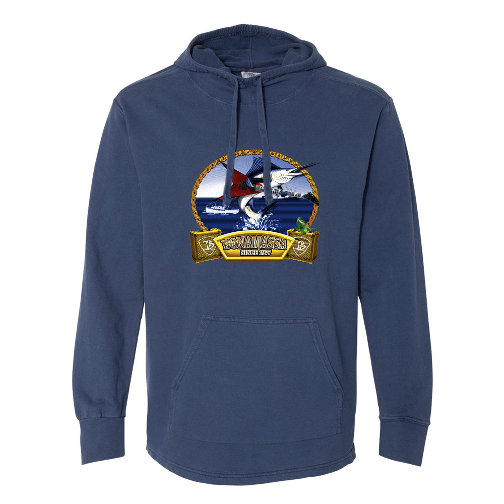 Bonamassa's Flying V Fish Comfort Colors Hooded Pullover (Unisex) - Navy