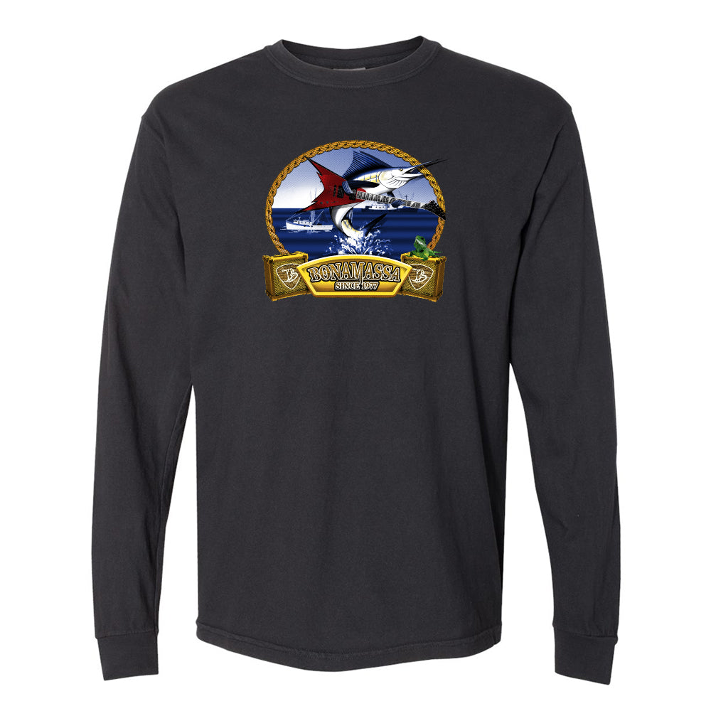 Bonamassa's Flying V Fish Comfort Colors Long Sleeve T-Shirt (Unisex) - Black