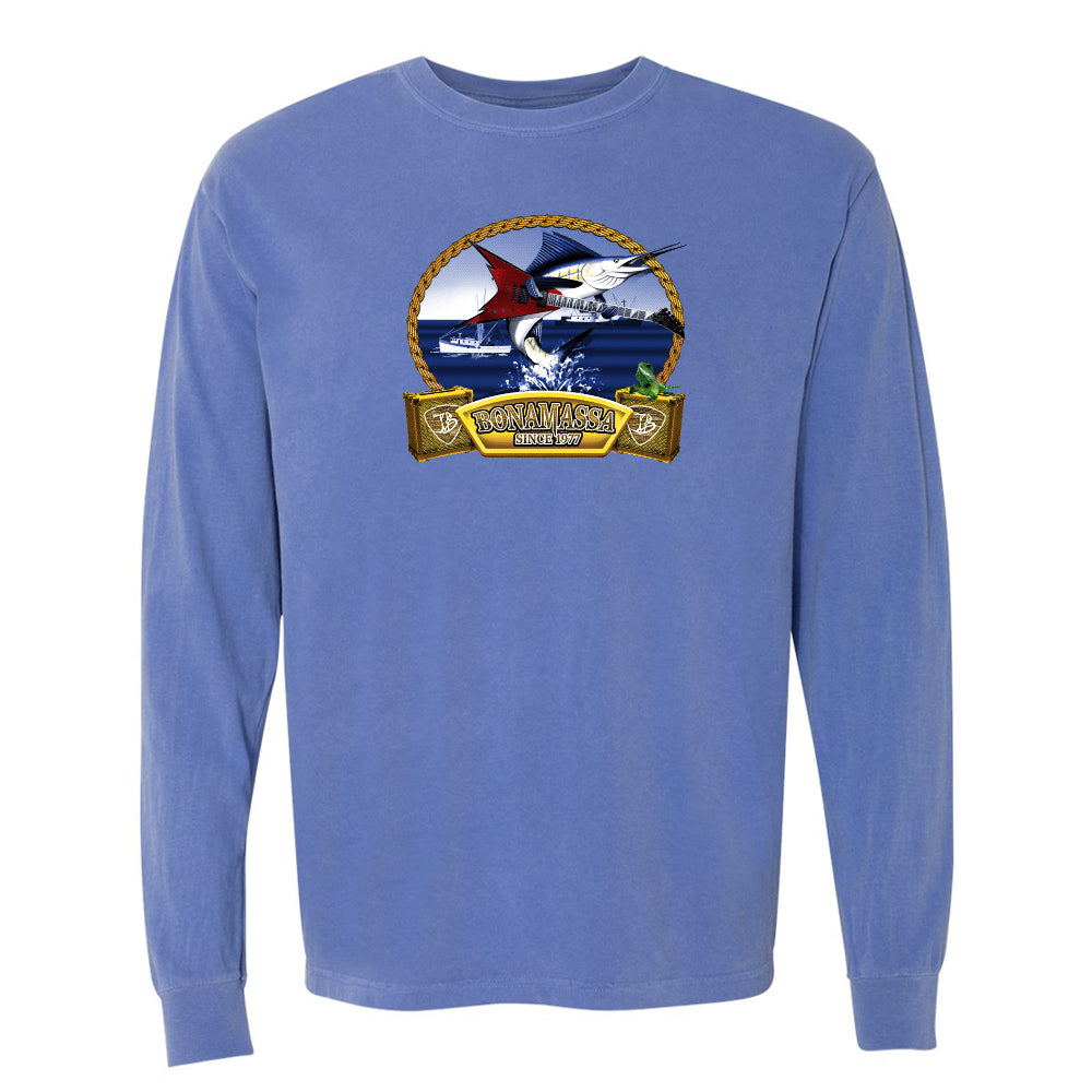 Bonamassa's Flying V Fish Comfort Colors Long Sleeve T-Shirt (Unisex) - Blue