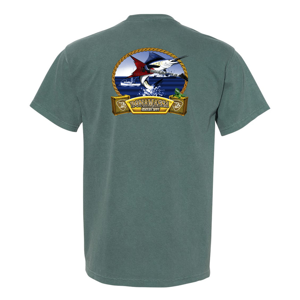 Bonamassa's Flying V Fish Comfort Colors Pocket T-Shirt (Unisex) - Spruce