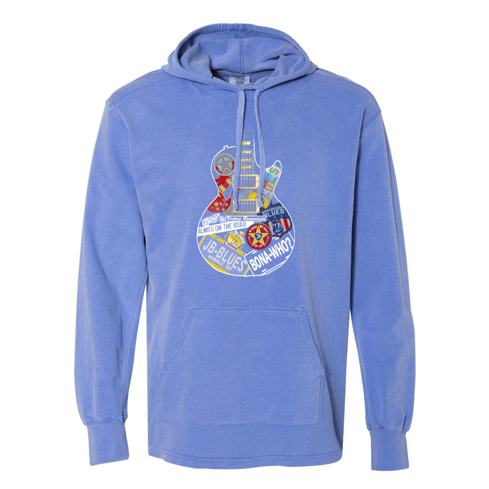 Blues Travels Comfort Colors Hooded Pullover (Unisex) - Blue