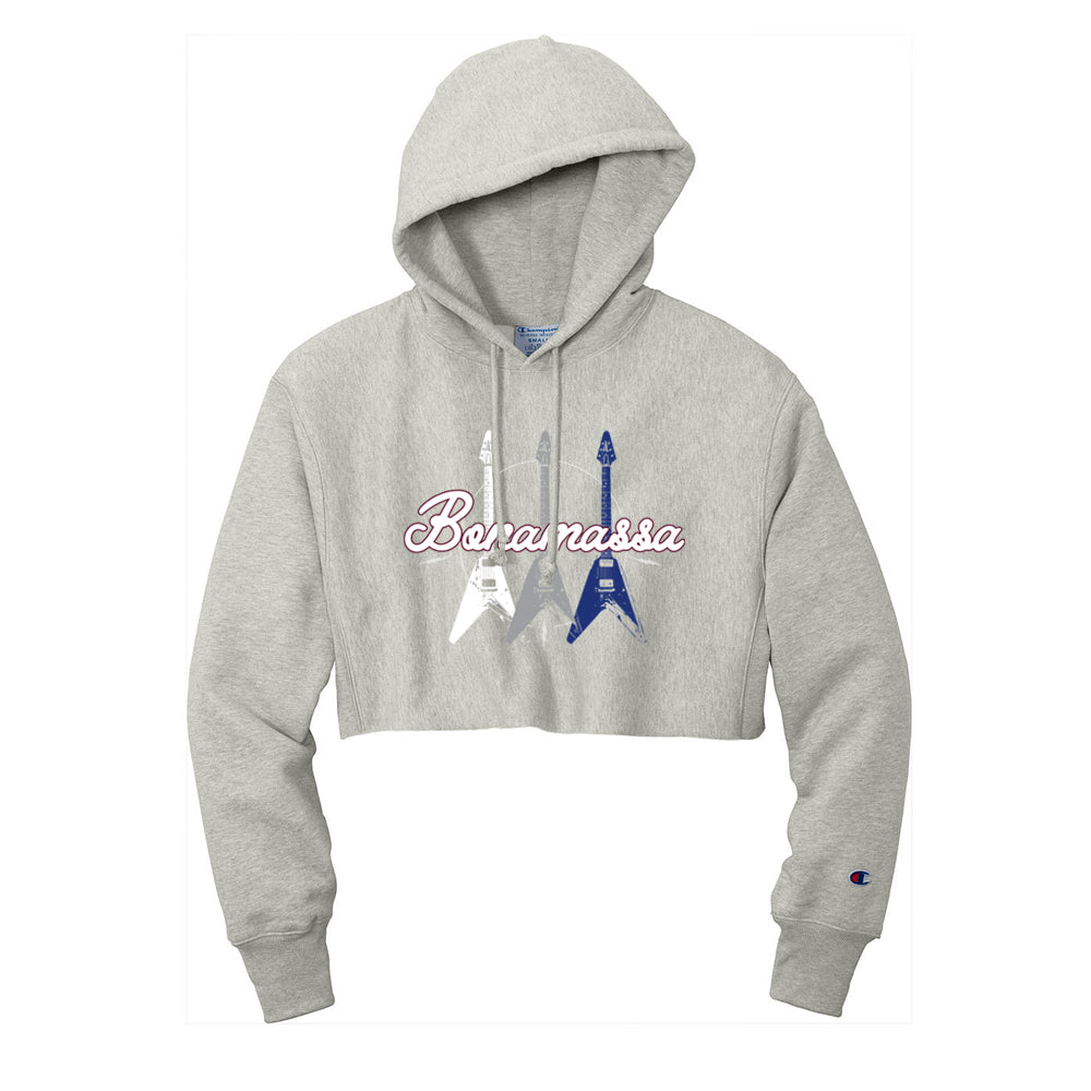 Triple Flying V Champion Reverse Weave Cropped Hooded Sweatshirt (Women) - Oxford