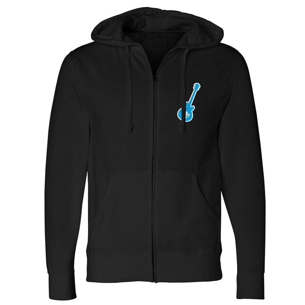 Vintage Guitar Zip-Up Hoodie (Unisex) - Black