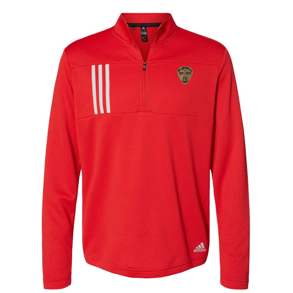Vintage Pick Adidas Double Knit 1/4 Zip Pullover (Men) - Red