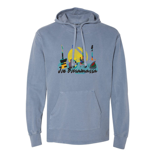 Watercolor Blues Comfort Colors Hooded Pullover (Unisex) - Blue Jean