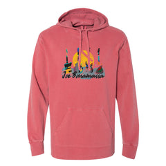 Watercolor Blues Comfort Colors Hooded Pullover (Unisex) - Crimson