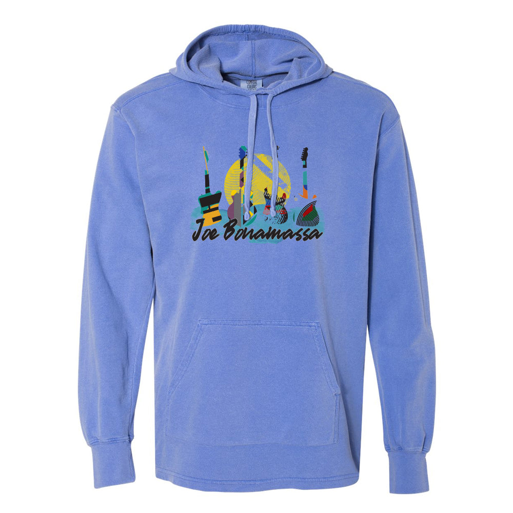 Watercolor Blues Comfort Colors Hooded Pullover (Unisex) - Blue