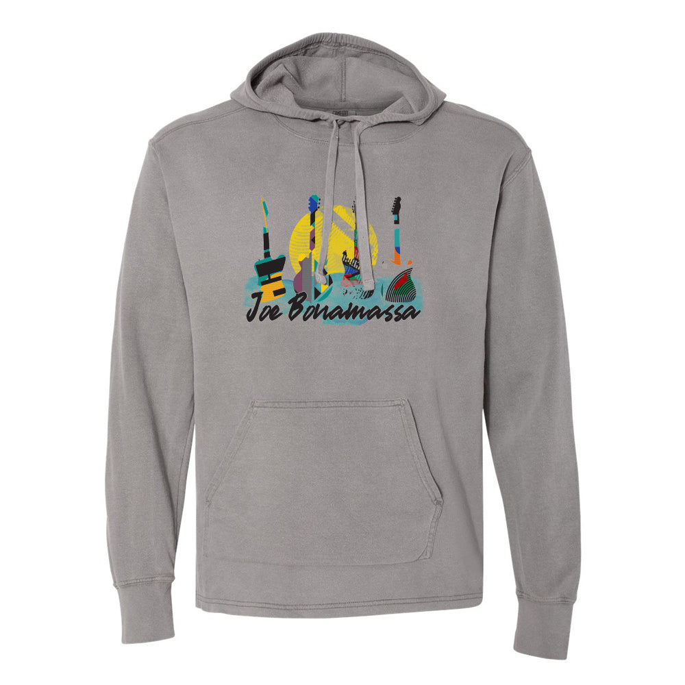 Watercolor Blues Comfort Colors Hooded Pullover (Unisex) - Grey