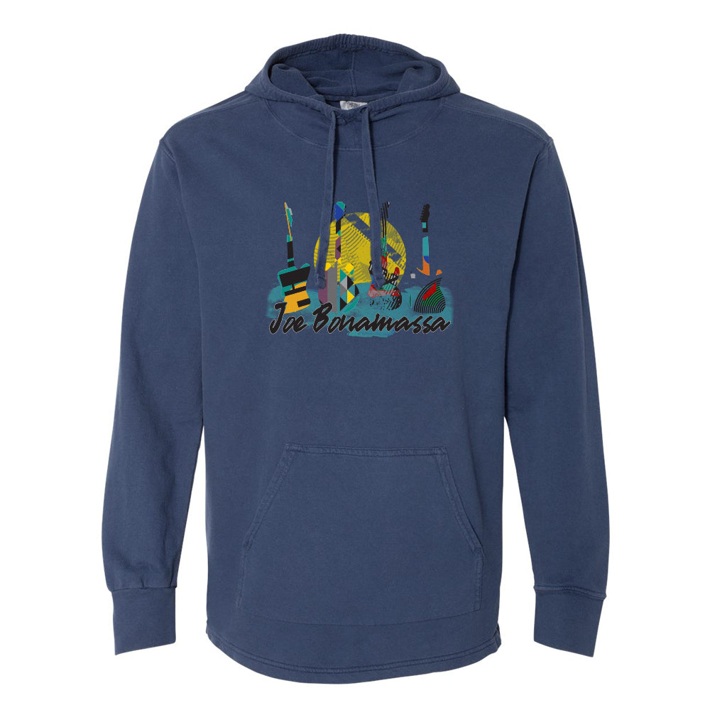 Watercolor Blues Comfort Colors Hooded Pullover (Unisex) - Navy