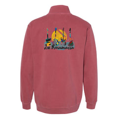 Watercolor Blues Comfort Colors 1/4 Zip Up (Unisex) - Crimson