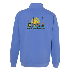 Watercolor Blues Comfort Colors 1/4 Zip Up (Unisex) - Blue