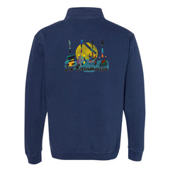 Watercolor Blues Comfort Colors 1/4 Zip Up (Unisex) - Navy