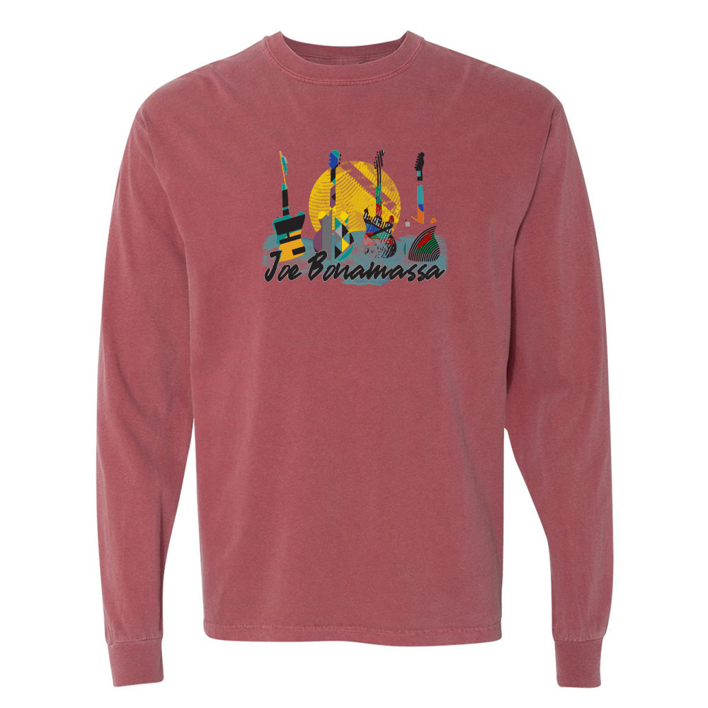 Watercolor Blues Comfort Colors Long Sleeve T-Shirt (Unisex) - Brick