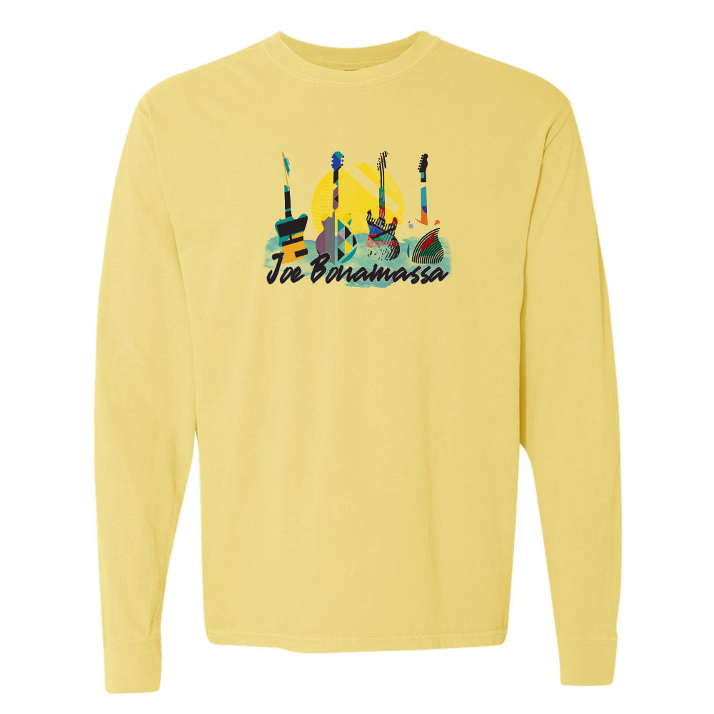 Watercolor Blues Comfort Colors Long Sleeve T-Shirt (Unisex) - Butter