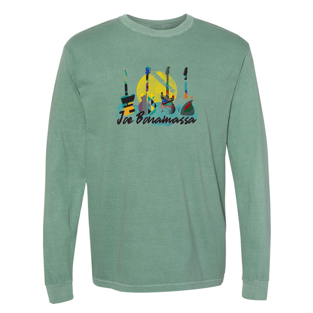 Watercolor Blues Comfort Colors Long Sleeve T-Shirt (Unisex) - Light Green