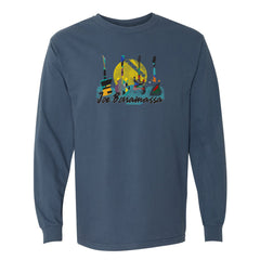 Watercolor Blues Comfort Colors Long Sleeve T-Shirt (Unisex) - Midnight Blue
