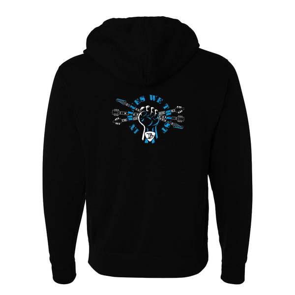 In Blues We Trust Fist Zip-Up Hoodie (Unisex) - Black