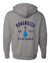Grey Vintage Guitar Zip-Up Hoodie