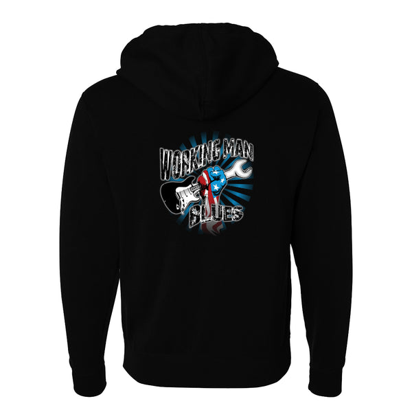 Working Man Blues Zip-Up Hoodie (Unisex) - Black