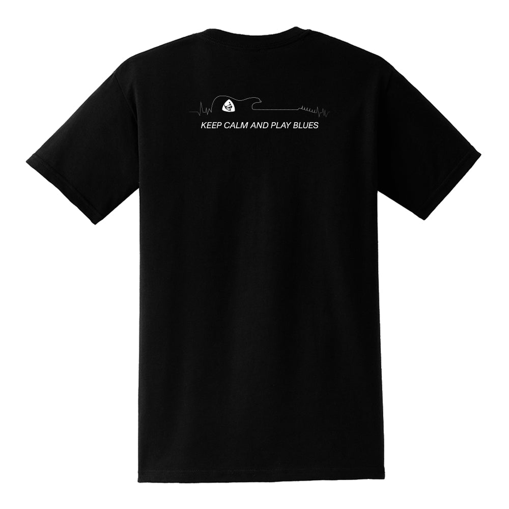 Keep Calm and Play Blues Pocket T-Shirt (Unisex) - Black