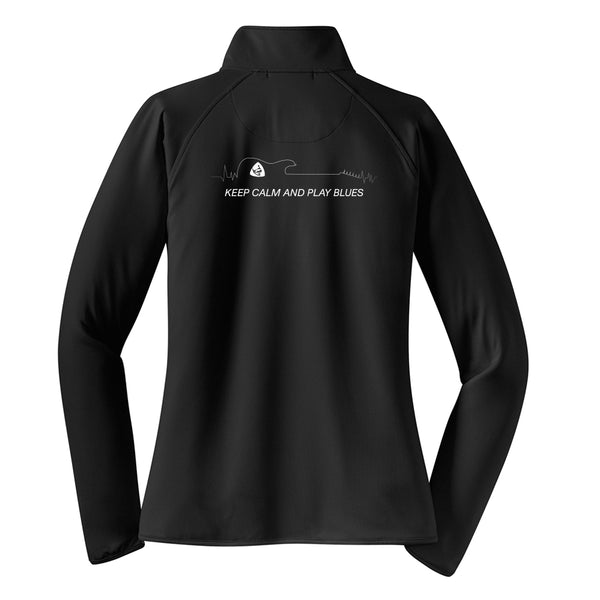 Keep Calm and Play Blues 1/2 Zip Pullover (Women) - Black