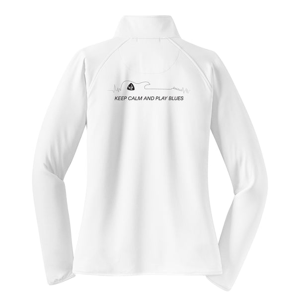 Keep Calm and Play Blues 1/2 Zip Pullover (Women) - White