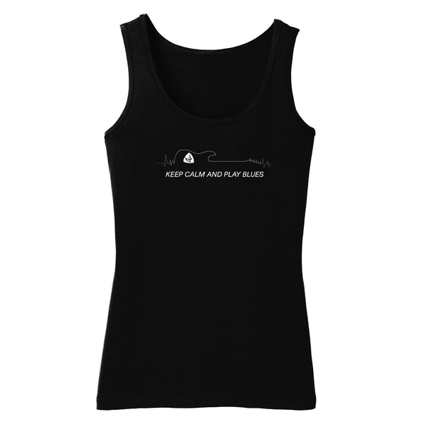 Keep Calm and Play Blues Tank (Women) - Black