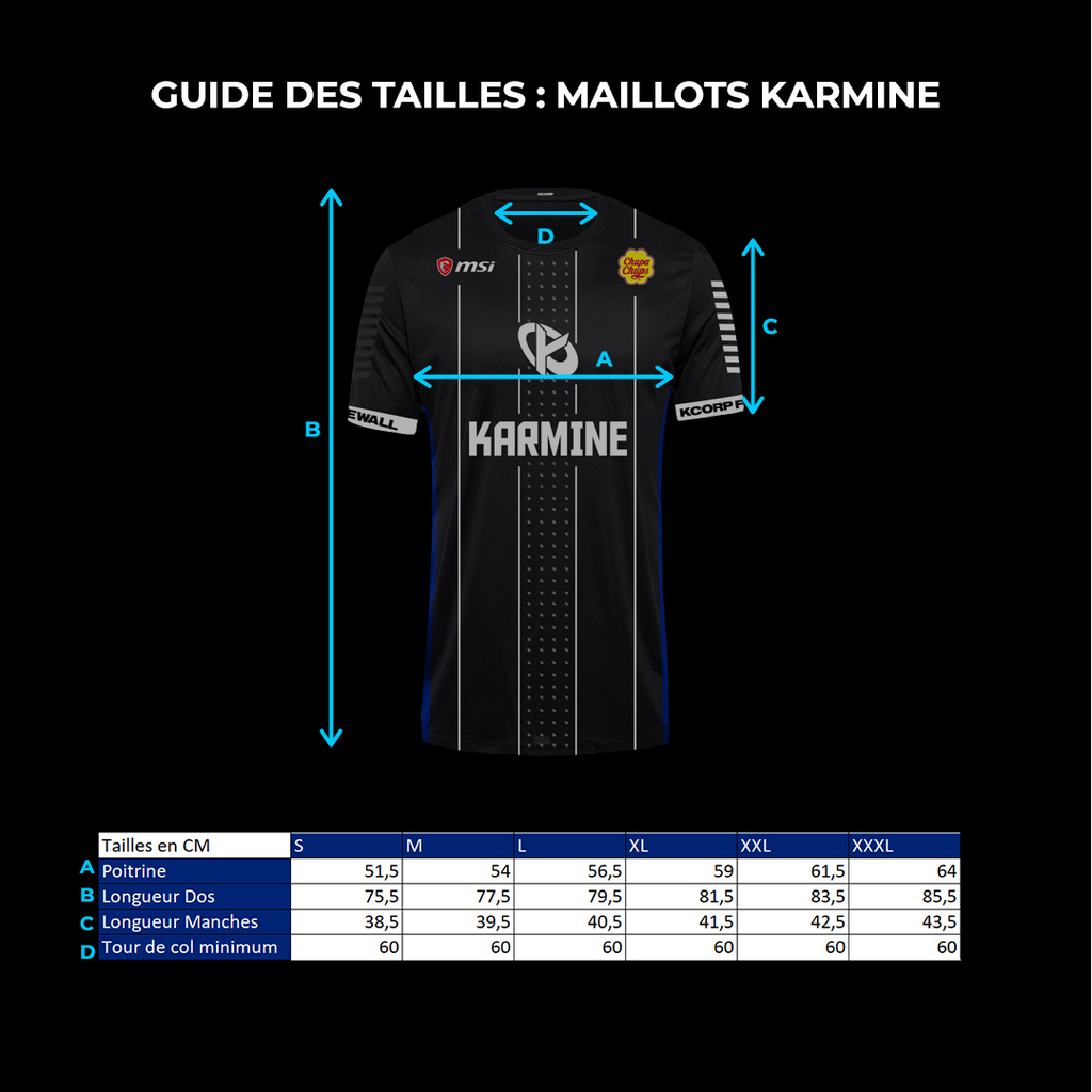 Guide des tailles : MAILLOTS
